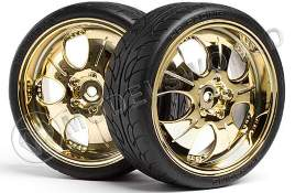 MOUNTED SUPER LOW TREAD TIRE (Gold/4pcs)