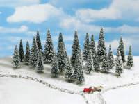 Набор деревьев, заснеженные ели, 6-15 см, 25 шт