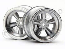 Диски туринг 1/10 - VINTAGE (31MM/ MATTE CHROME/ 6MM OFFSET) 2шт  [ VINTAGE 5 SPOKE WHEEL 31MM (WIDE) MATTE CHROME (6MM OFFSET) ]