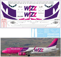 Декаль на Airbus A320 WizzAir. Масштаб 1:144