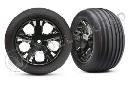 "Покрышка колеса и диск в сборе (2шт.) Tires & wheels, assembled, glued (2.8"")(All-Star chrome wheels, Ribbed tires, foam inserts)"